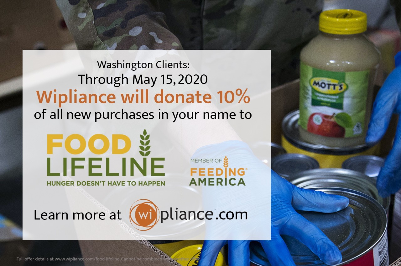 Wipliance to donate 10% of New Projects to Food Lifeline Through May 15
